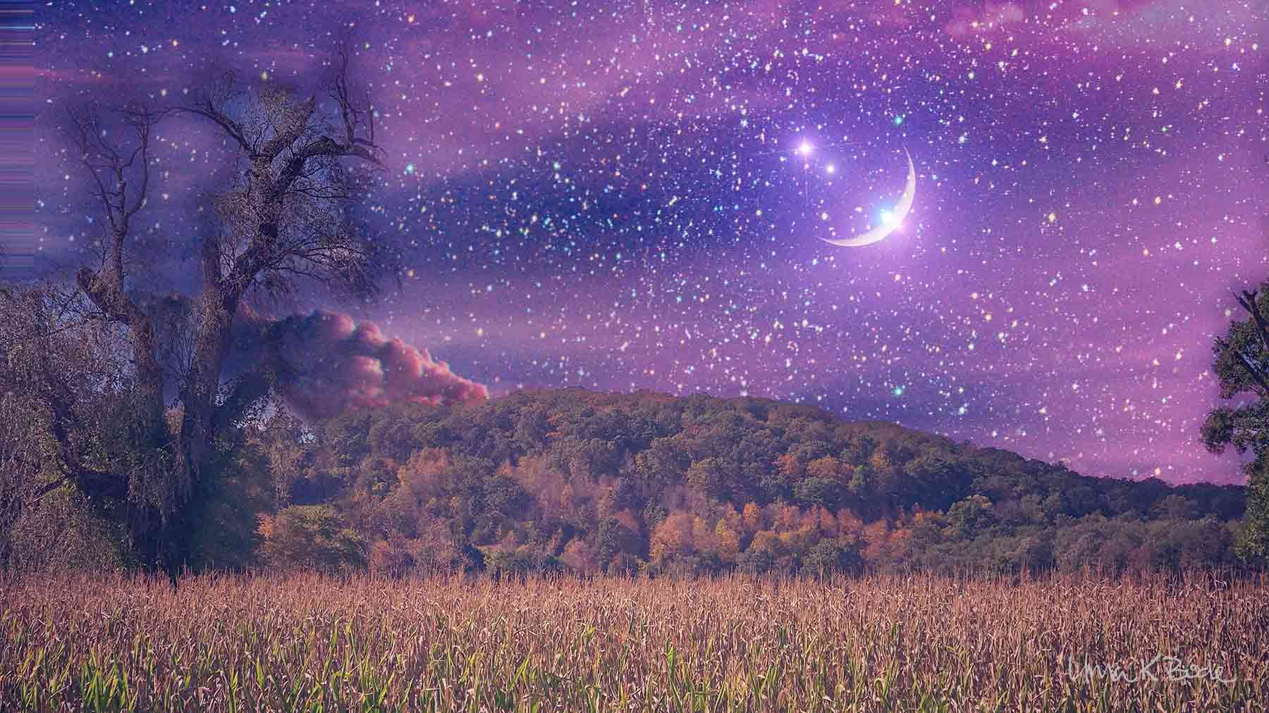 Ethereal purple night sky with stars and moon, cornfield and hills