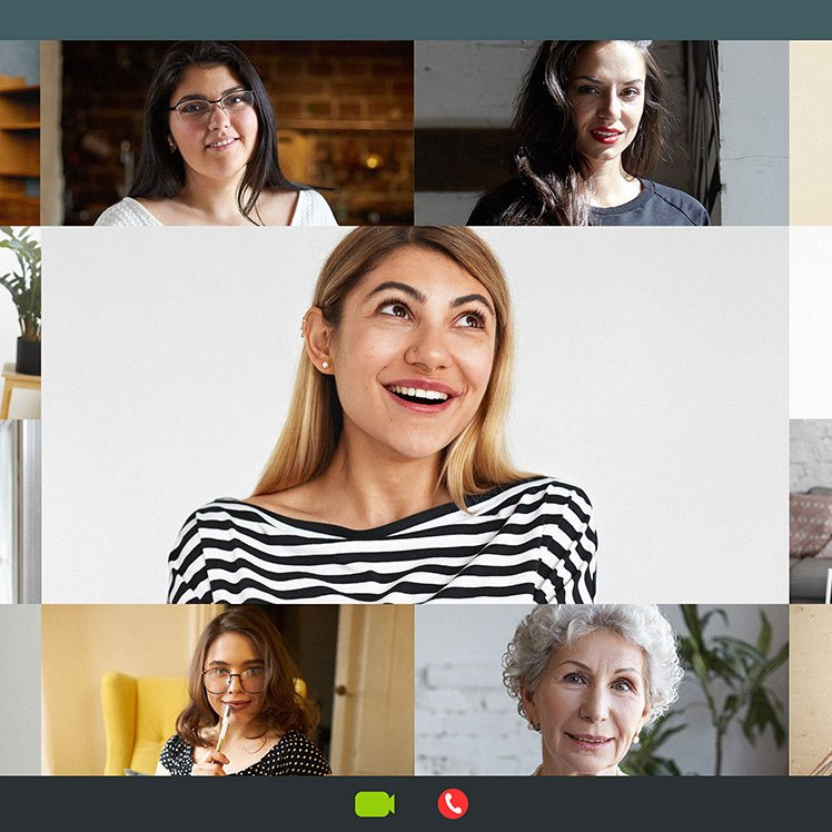 women on video conference call