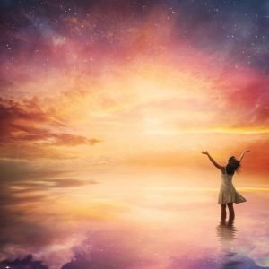 woman with arms open toward pink and blue sky