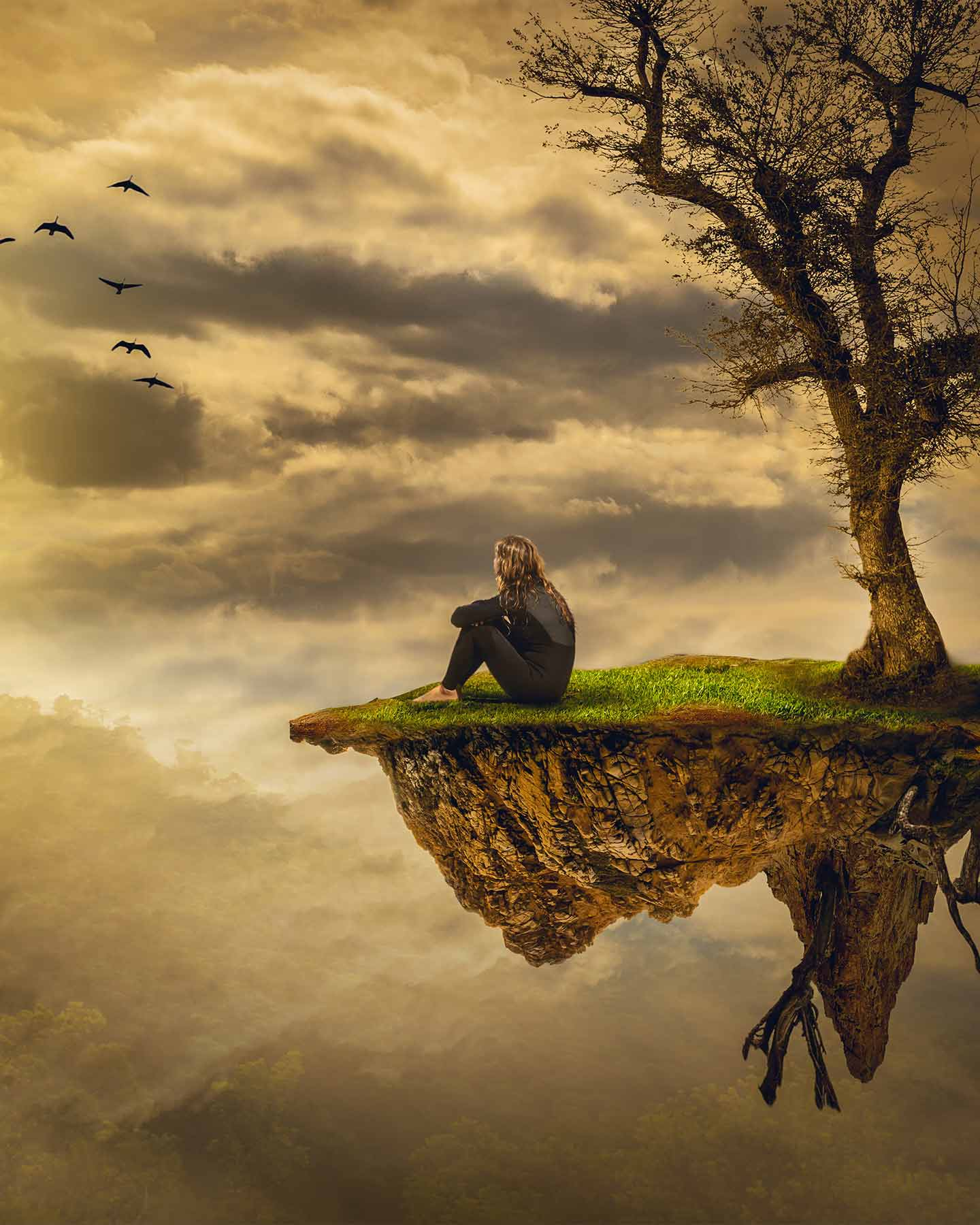 woman on small piece of land floating in sky - fantasy